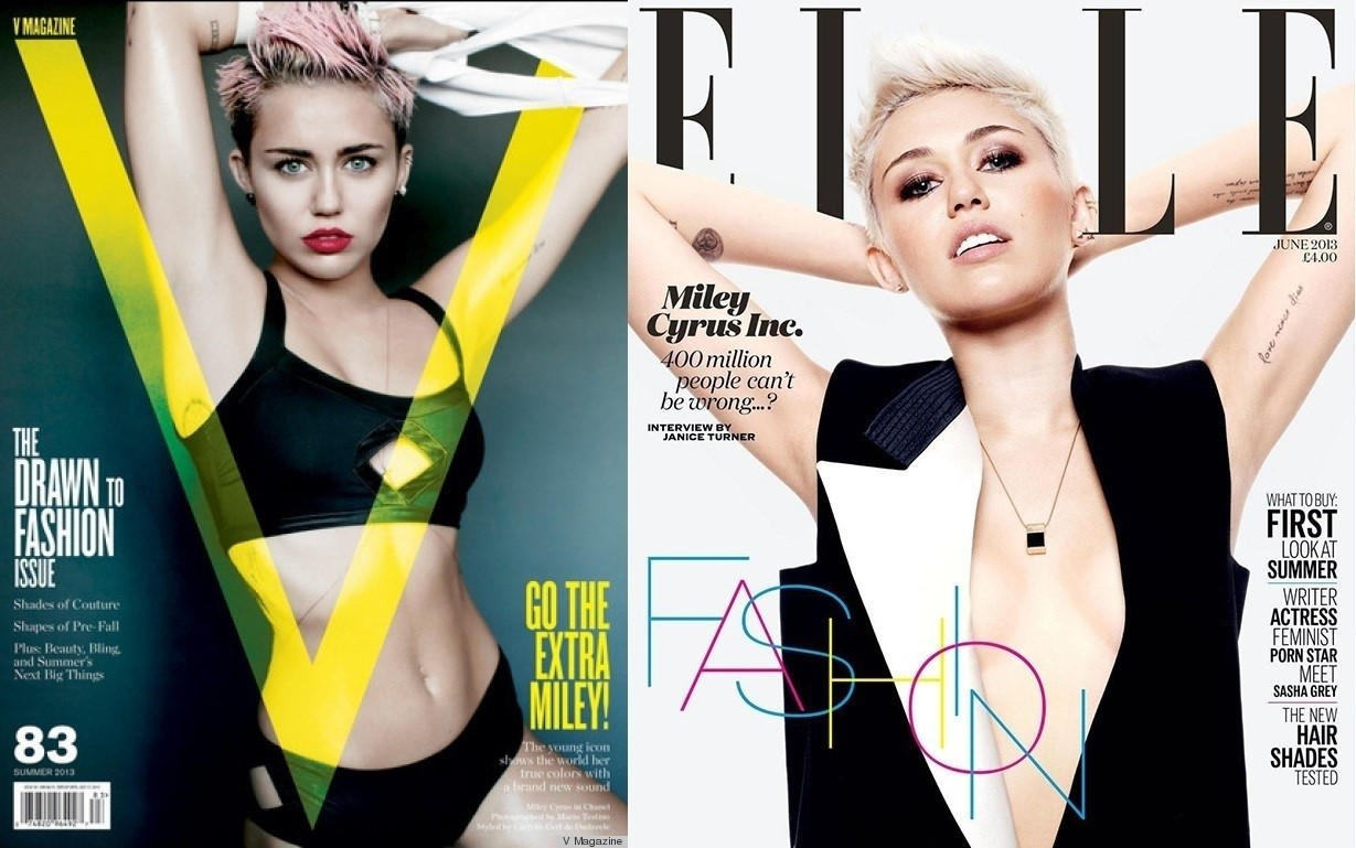 Which Miley Cover Shoot Is Better Elle Uk Or V Magazine Stylenigma