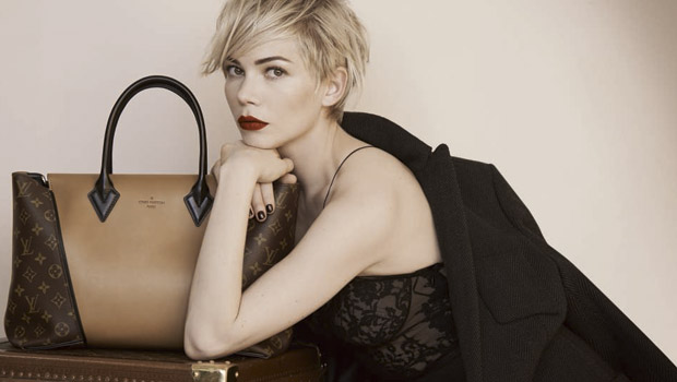 Michelle Williams and the W or Capucines bag and wearing Marc Jacobs
